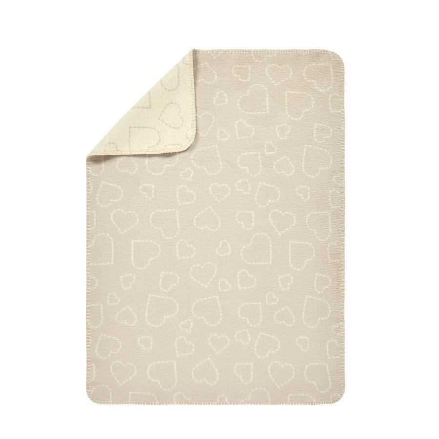 Alvi®  Plaid enfant Hearts coton nature 75x100 cm