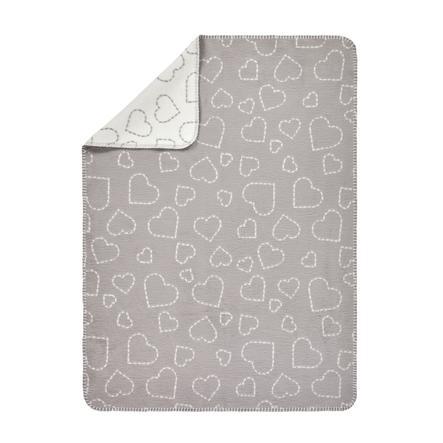 ALVI Babydecke Baumwolle Hearts grey