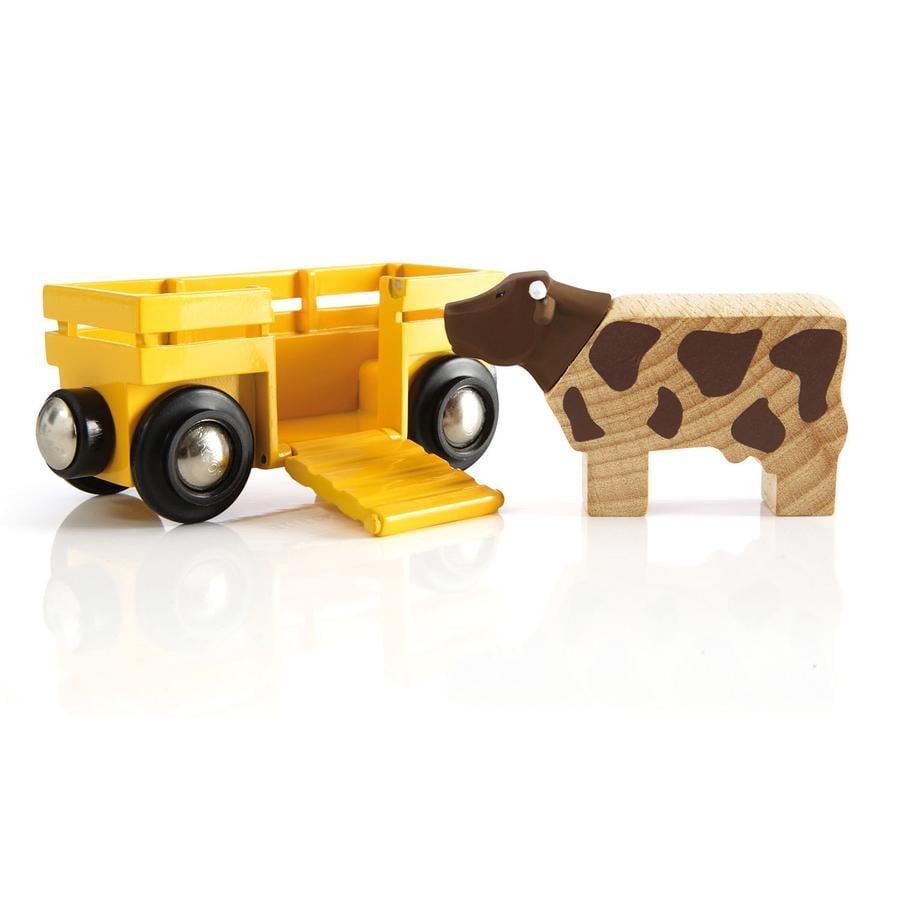 BRIO Vagón de ganado y vaca de madera 33406