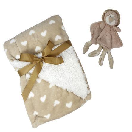 HÜTTE & CO baby filt med snuggle tyg lejon 75 x 100 cm