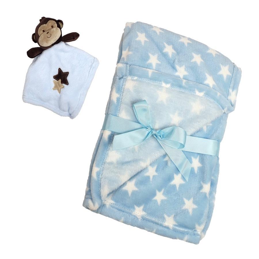 HÜTTE & CO coperta per bambini con panno per coccolarsi 75 x monkey 100 cm
