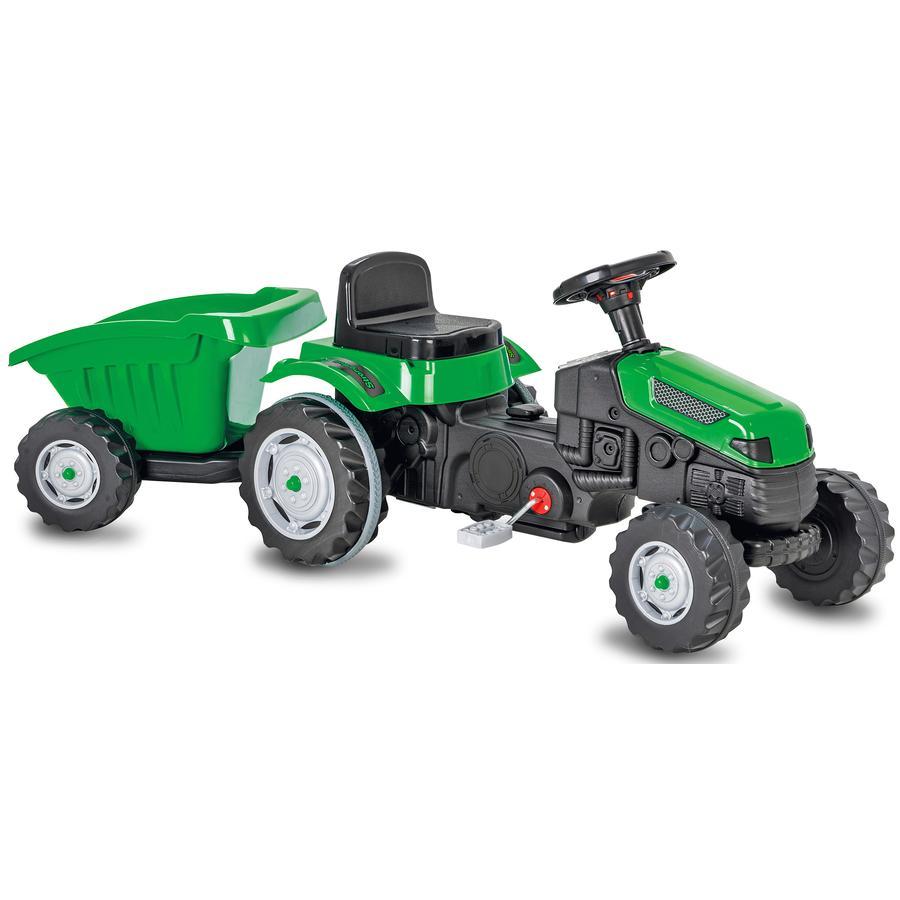 JAMARA Pedaltraktor for barn med henger Strong Bull green