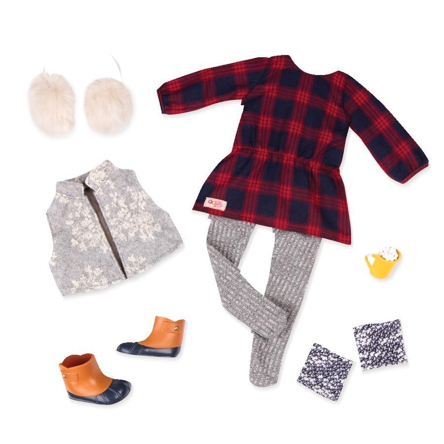 Our Generation outfitové zimní šaty pro panenku s klapkami na uši