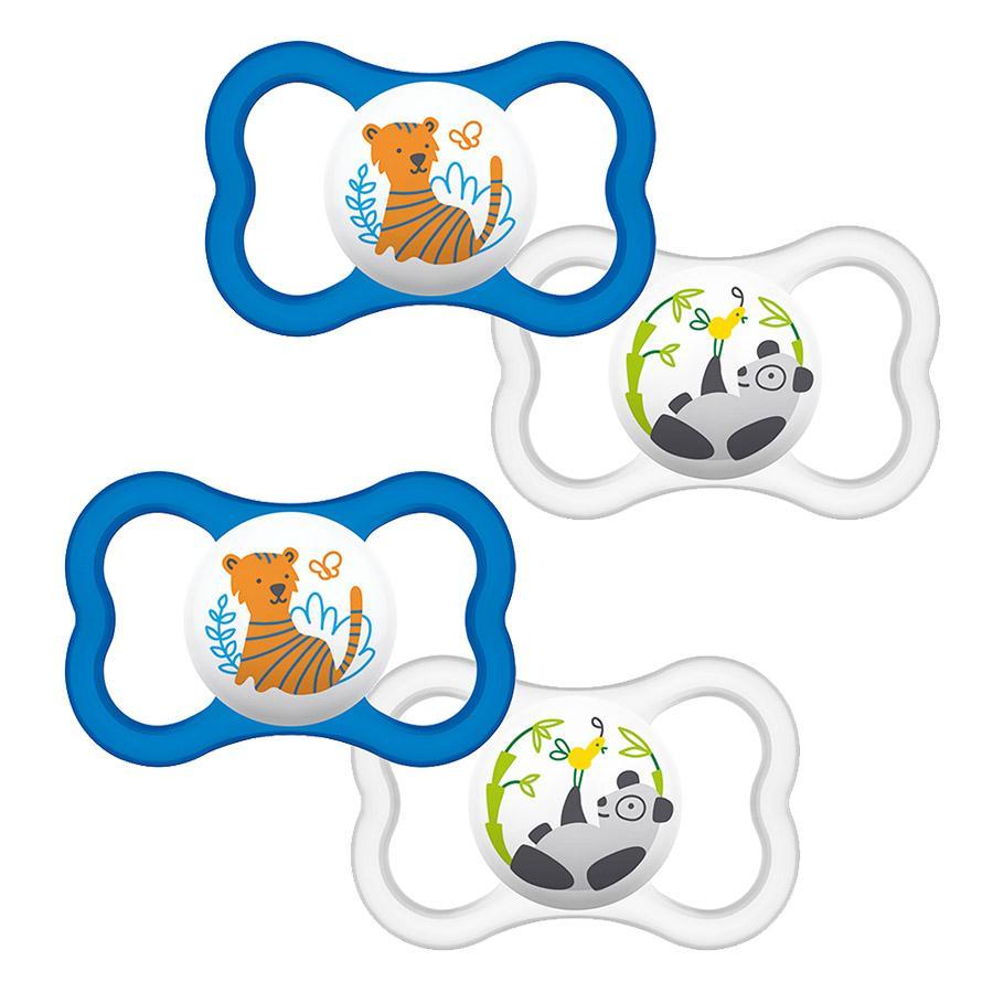 MAM Schnuller Air 16+ Monate Latex Tiger/ Panda im Doppelpack