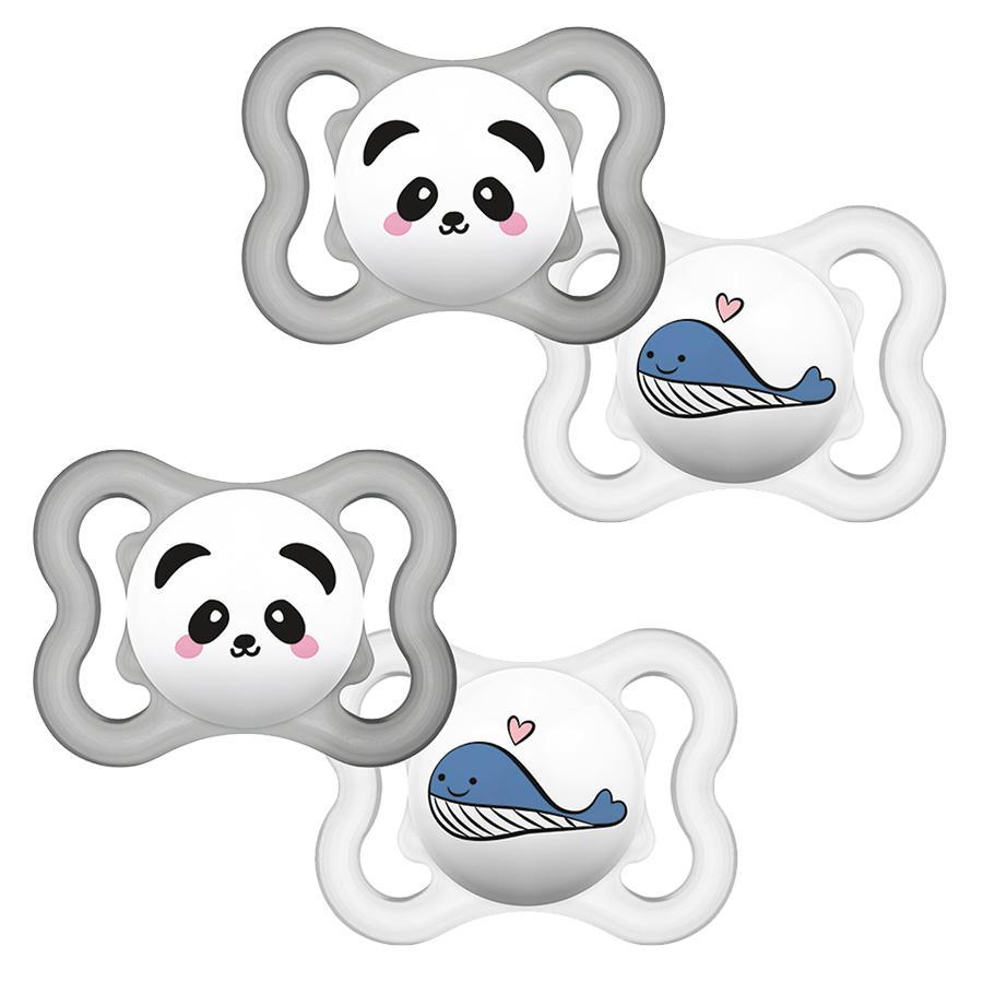 MAM Schnuller Supreme Silikon 0-6 Panda/ Wal in Viererpack