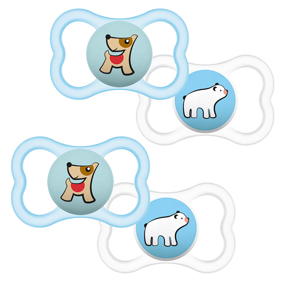 MAM Schnuller Supreme Silikon 6-16 Hund und Eisbär im Doppelpack