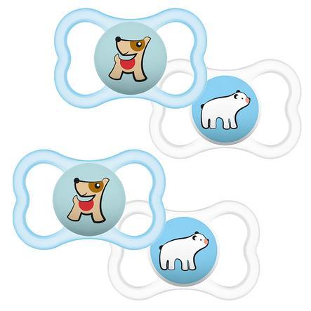 MAM Schnuller Supreme Silikon 16+ Hund/ Eisbär im Viererpack
