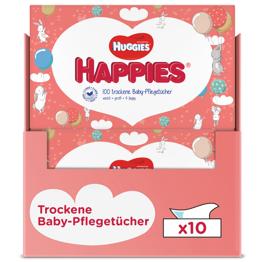 Huggies trockene Baby-Pflegetücher Happies 10 x 100 Tücher