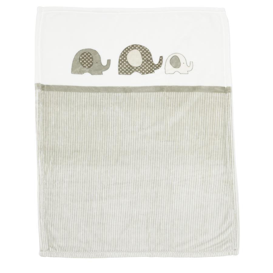Alvi® Couverture de jeu microfibres éléphant beige 75x100 cm