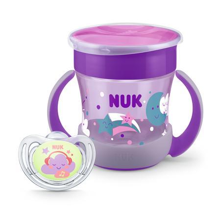 NUK Butelka do picia Mini Magic Żarząca się w Dark Set w kolorze fioletowym