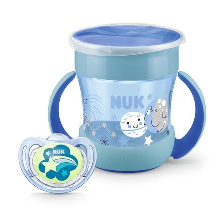 NUK Trinklernflasche Mini Magic Glow in the Dark Set in blau
