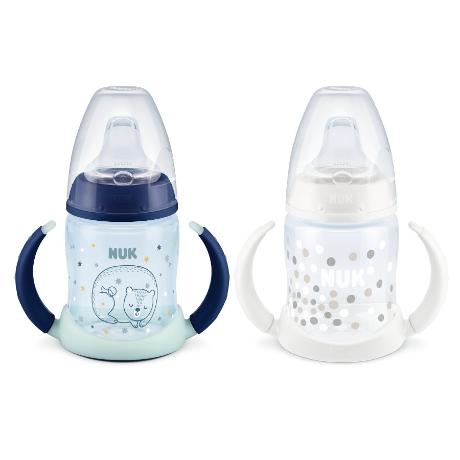 NUK Trinklernflasche First Choice Glow in the Dark Duo Set in blau/weiß