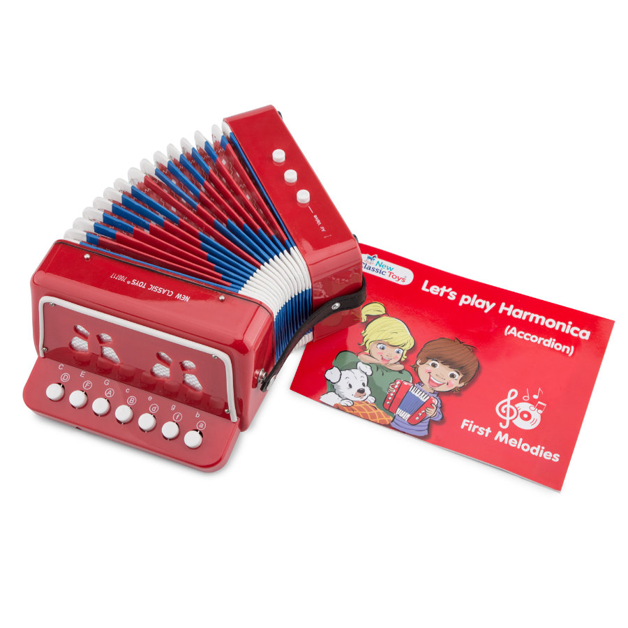 New classic Toys Accordion - Rød med musikkbok