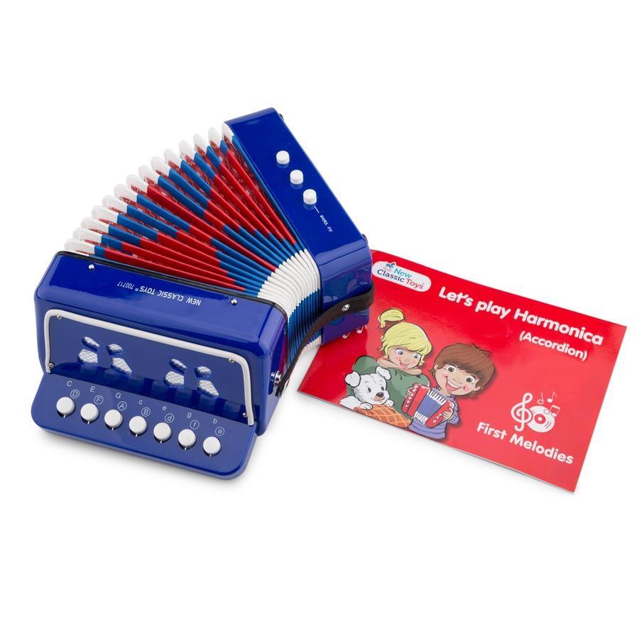 New Classic Toys Accordéon enfant, bois bleu 10056