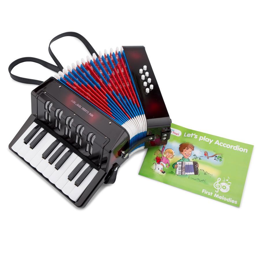 New Classic Toys Akkordeon Groß - Schwarz mit Musikbuch