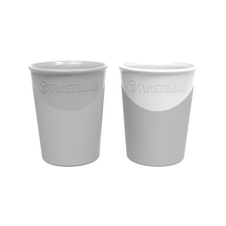 TWIST SHAKE  Gobelet 2 x 170 ml 6+ mois gris pastel / blanc
