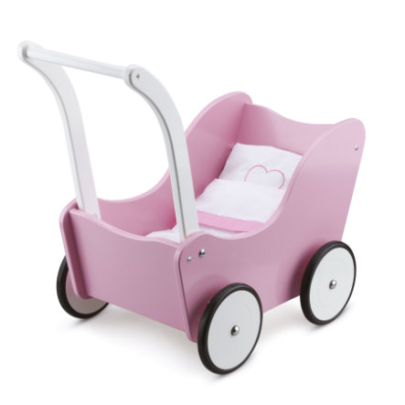 New Classic Toys Dukkevogn-rosa sengesett