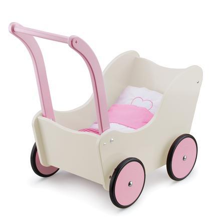 New Classic Toys Doll's barnevognscreme-inkluderet sengesæt