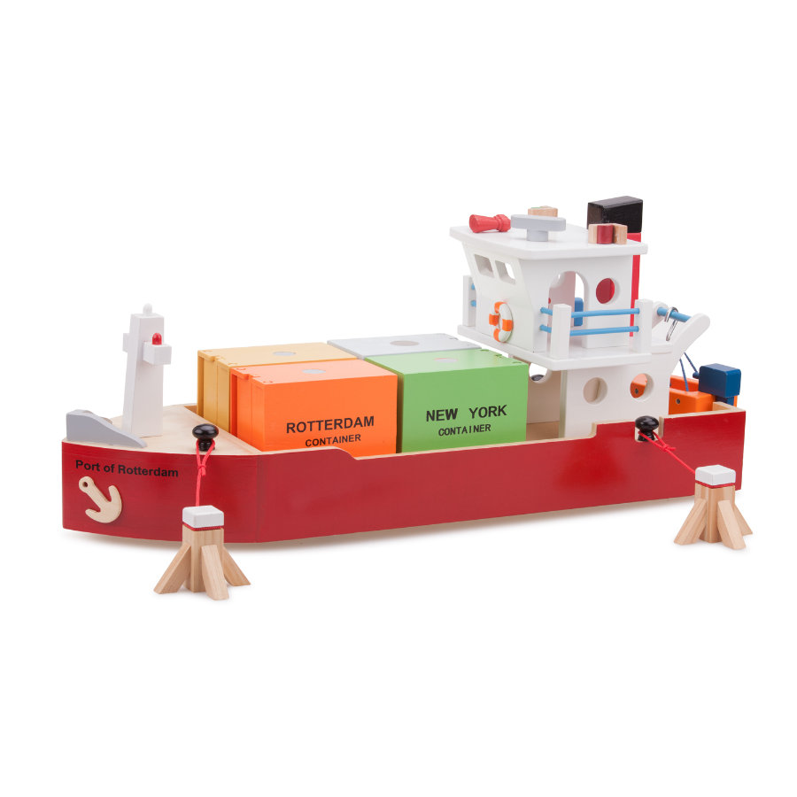 New Classic Toys Figurine bateau porte-conteneurs bois