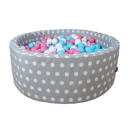 "knorr® toys Bällebad soft - ""Grey white dots"" - 300 balls rose/creme/lightblue"