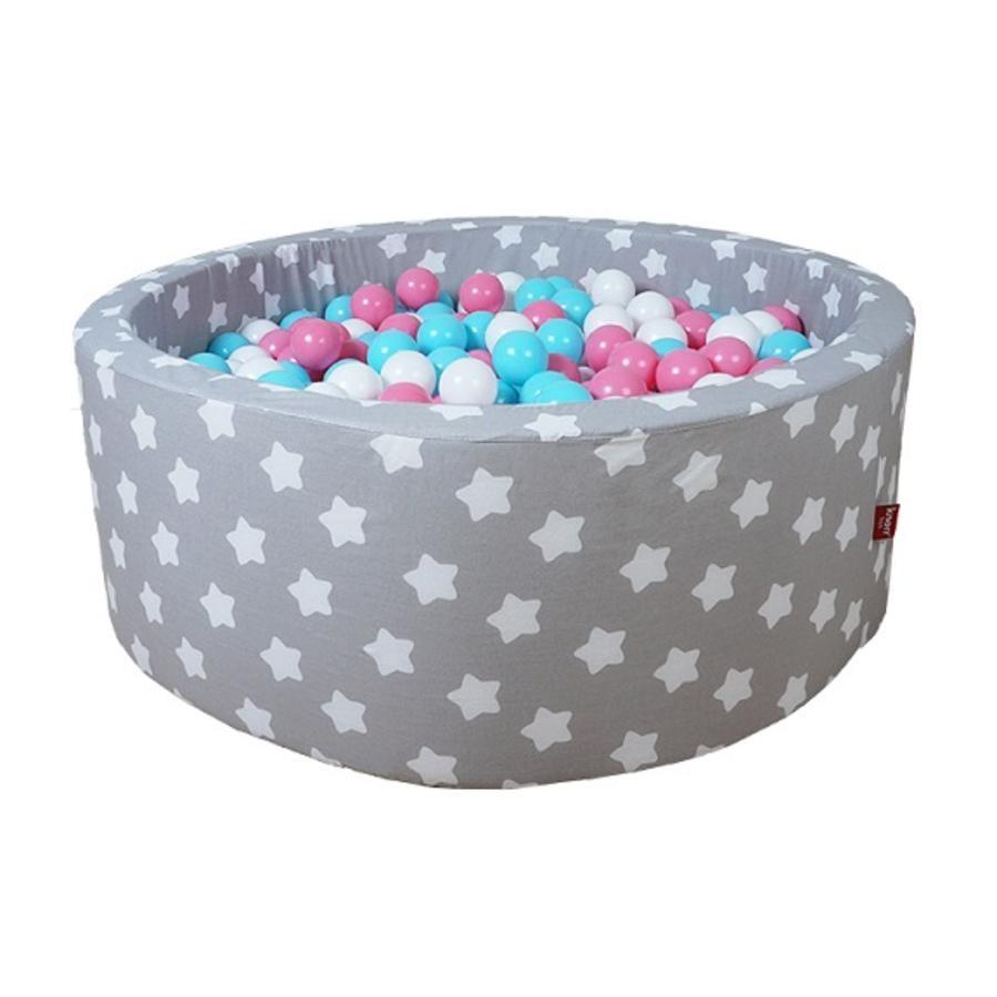 """""""knorr® toys myk ballbinge - """"""""Gråhvite stjerner"""""""" - 300 baller ros/ krem / lyseblå"""""""