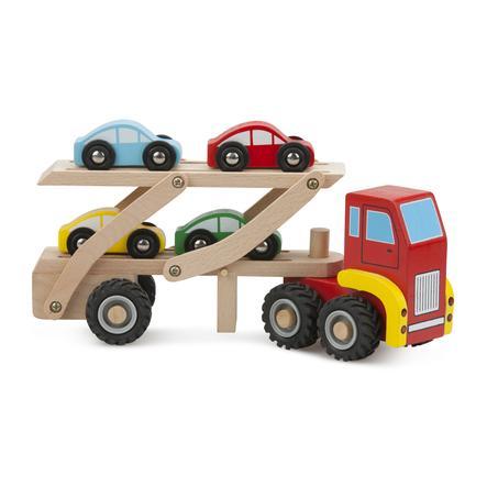 New Classic Toys Figurine transporteur de voitures, 4 voitures bois