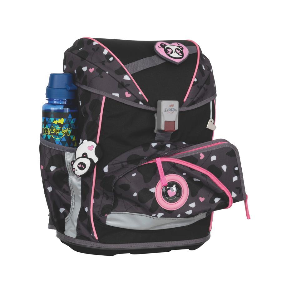 DerDieDas® Cartable d'école enfant ErgoFlex Buttons Pink Panda, 5 pièces