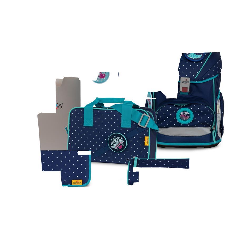 DerDieDas® Cartable d'école enfant ErgoFlex Buttons - Star Princess, 5 pièces