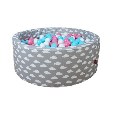 "knorr® toys Bällebad soft - ""Grey white clouds"" -300 balls rose/creme/lightblue"