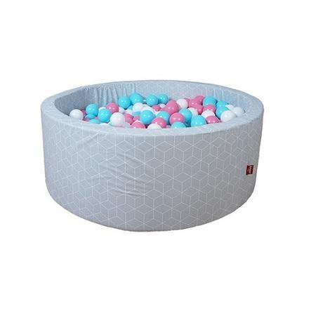 """knorr® speelgoed ballenbad zacht - """"Geo cube grey"""" - 300 ballen roos/room/ light blauw"""