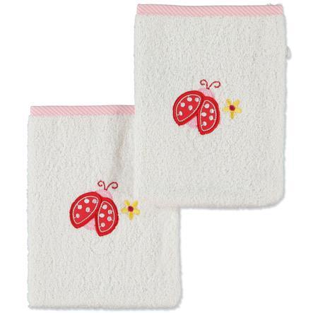 pink or blue Girls Wash Glove Ladybeetle, 2 pcs. - white, pink