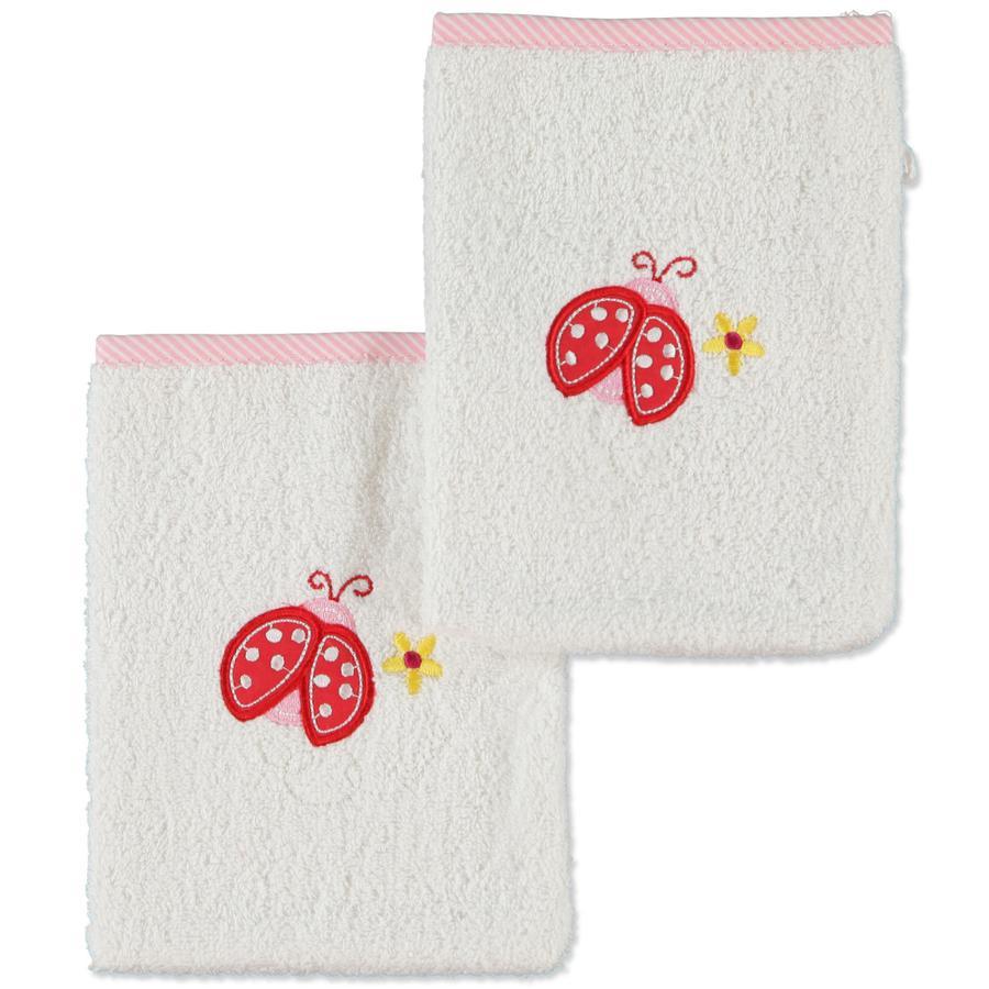 pink or blue tvättlapp nyckelpiga 2-pack vit rosa
