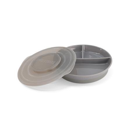 TWIST SHAKE dětský talíř s dělením 6+ měsíců pastelově šedý
