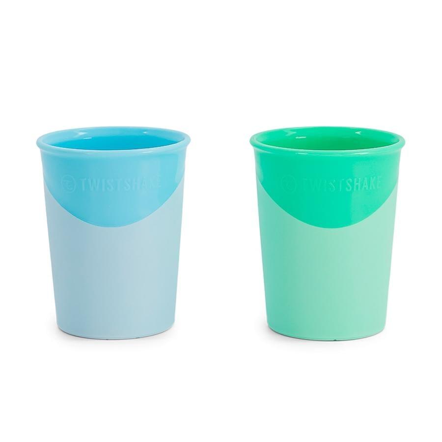 TWIST SHAKE  Vaso de bebida 2 x 170 ml 6+ meses azul pastel / verde