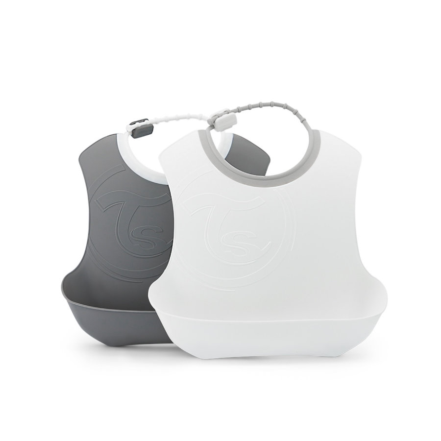 TWIST SHAKE  Bavaglino 2-pack 4+ mesi grigio pastello / bianco