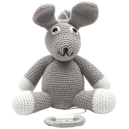 natureZoo of Denmark Peluche musicale à crochet lapin gris