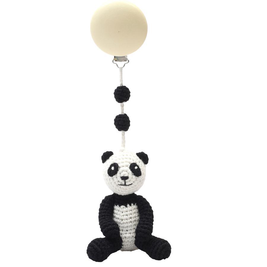 natureZoo of Denmark gehäkelte Kinderwagenanhänger - Panda, schwarz