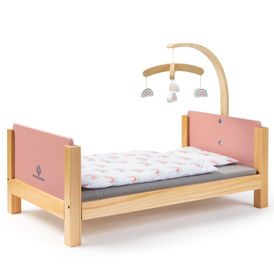 MUSTERKIND® Lit pour poupée Barlia bois rose/naturel