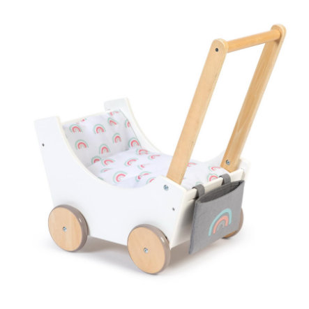 MUSTERKIND ® Wózek dla lalek - Barlia - biały/naturalny