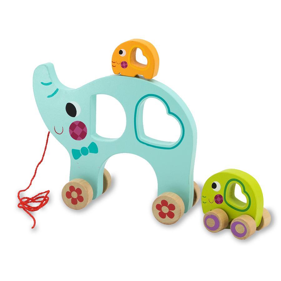 JAMARA Holzspielzeug Kidiwood Nachzieh-Elefantenfamilie 3tlg