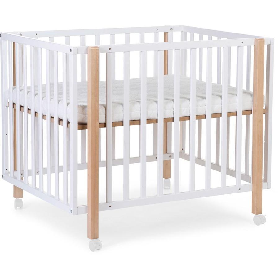 CHILDHOME Parc bébé à roulettes 922 bois blanc naturel 75x95 cm