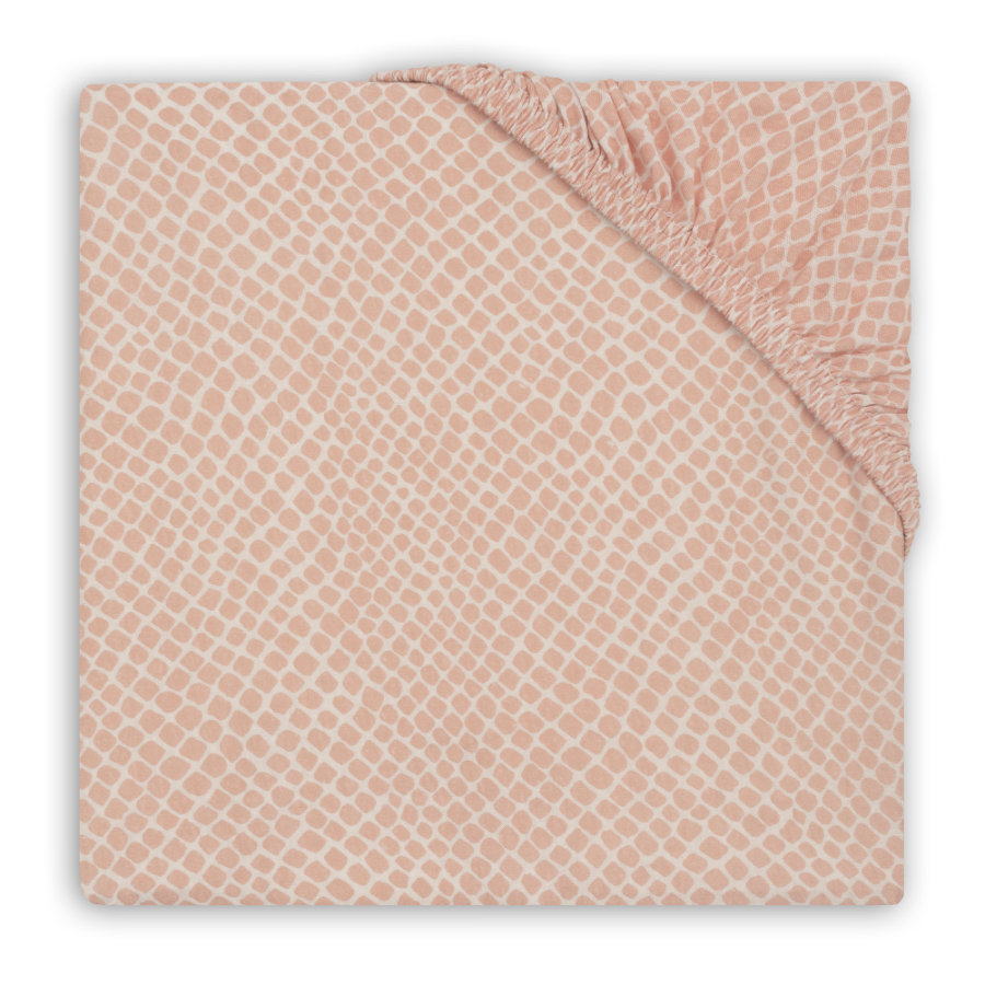 jollein Drap housse enfant matelas de parc Jersey Snake pale pink 75x95 cm