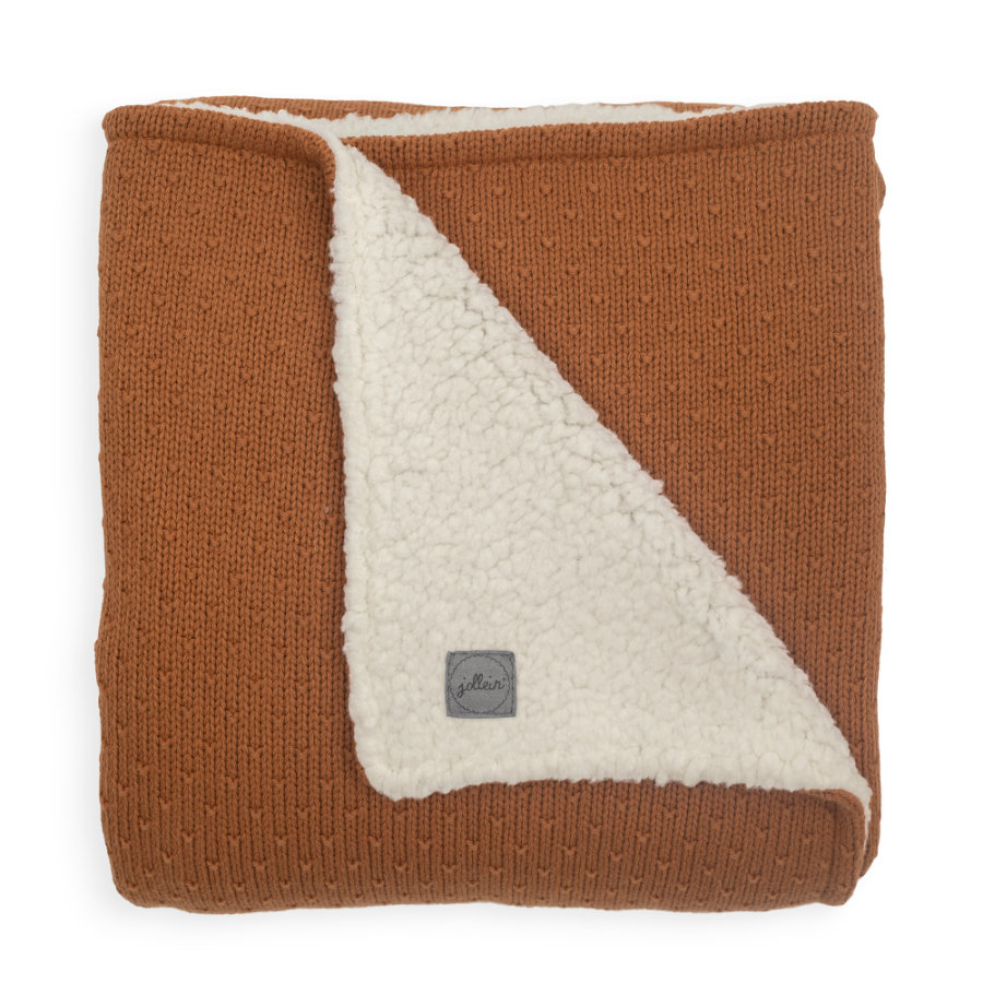 jollein strikket tæppe teddy Bliss karamel 100 x 150 cm