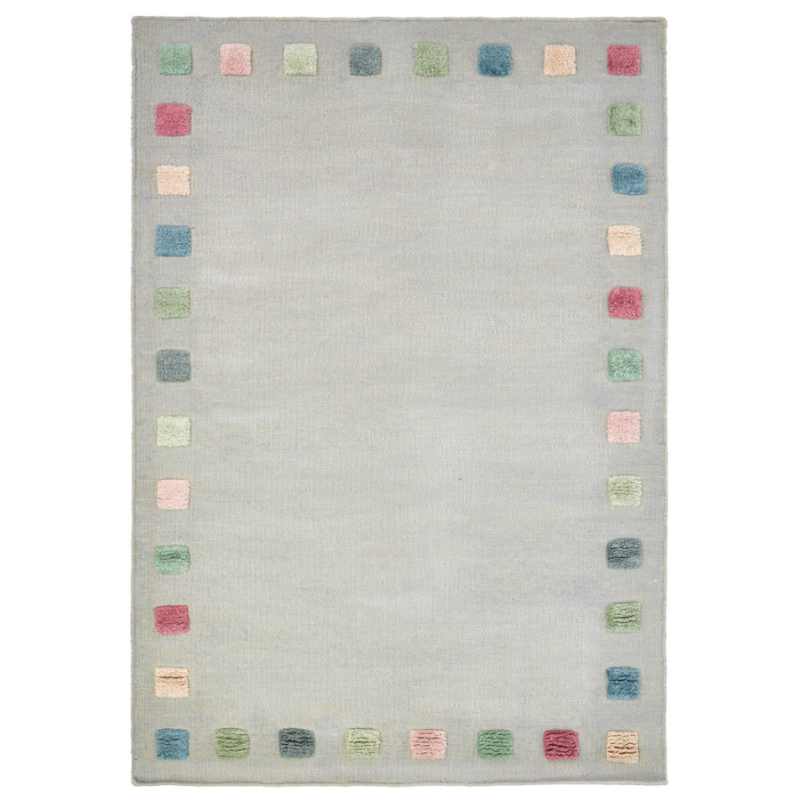 LIVONE Kinderteppich COLORBORDER silbergrau/multi 100x160 cm