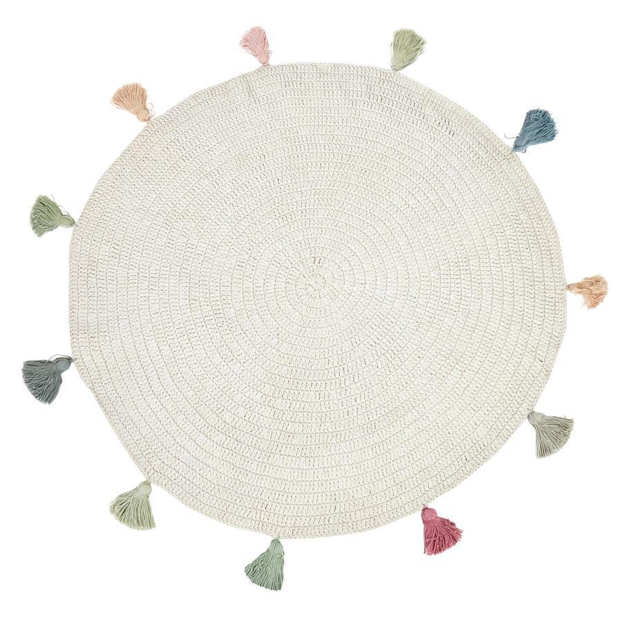 LIVONE Dětský koberec FRINGES přírodní / multi kulatý 133 cm