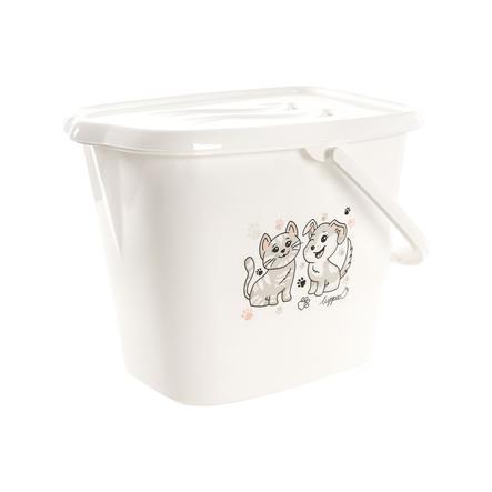LUPPEE kbelík na koupání s rukojetí na vodu a pleny v bílé barvě