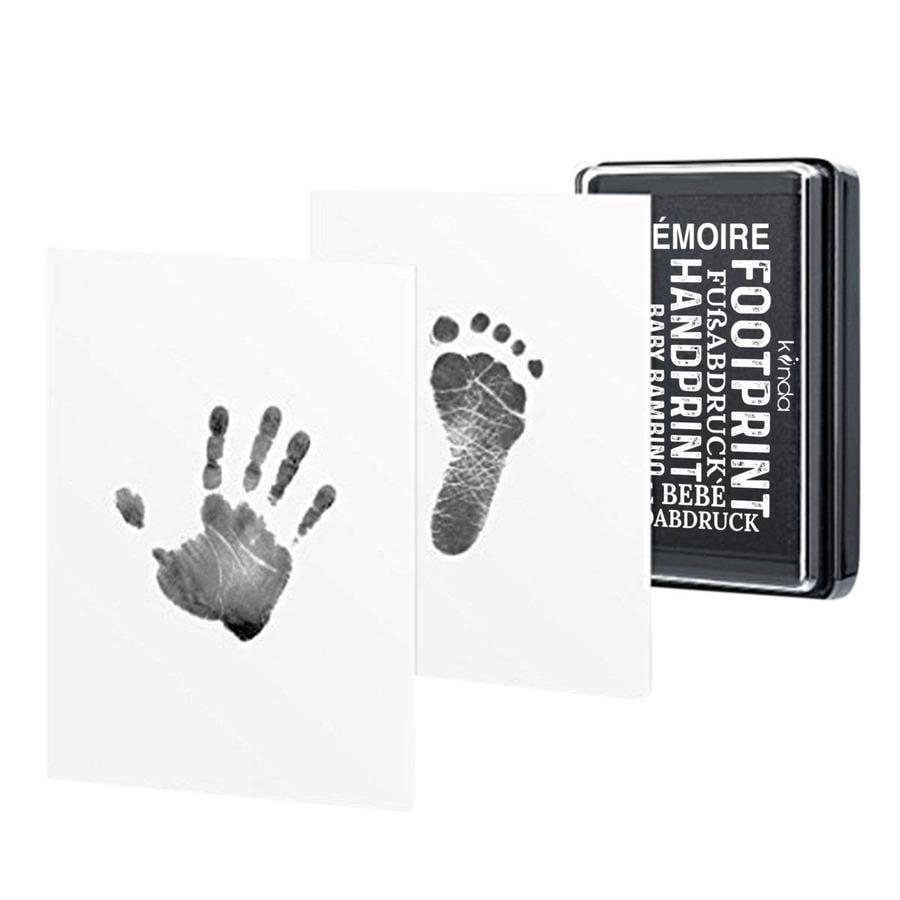 kiinda Stempelkussen babyhandje en voetafdruk, in zwart