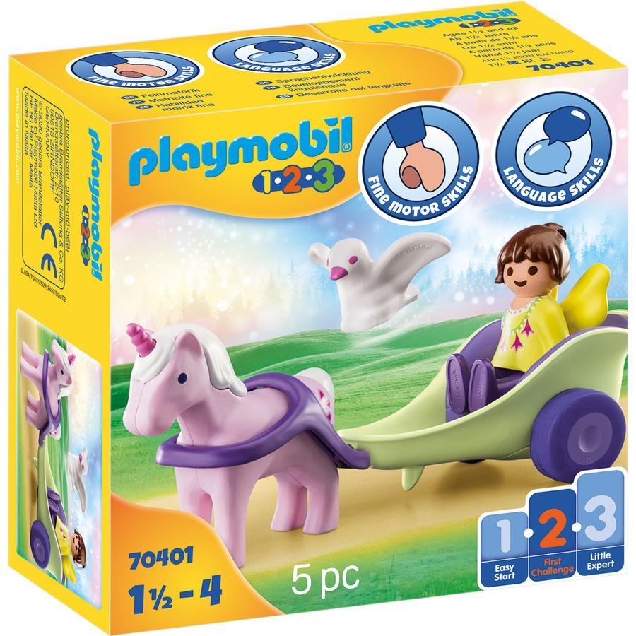 PLAYMOBIL® 1 2 3 Figurine calèche avec licorne et fée 70401