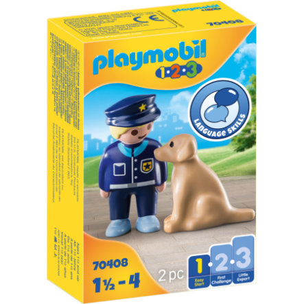 PLAYMOBIL® 1 2 3 Figurine policier avec chien 70408