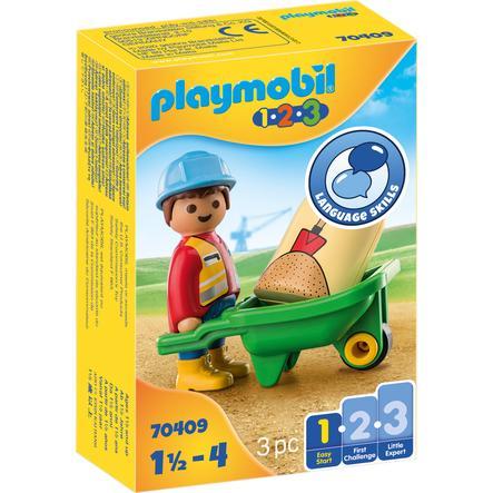 PLAYMOBIL  ® 1 2 3 Bouwvakker met kruiwagen